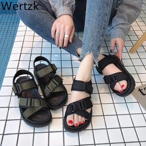 Wertzk Sport sandali 2019 nuovi piani d'estate con le scarpe coreano Harajuku delle donne web celebrity romani scarpe paio spiaggia F051 Y200620