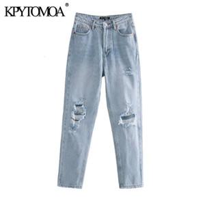 Kpytomoa Mulheres 2020 Chic Fashion rasgado Buraco bolsos laterais Jeans cintura alta Vintage Zipper Fly Denim Feminino tornozelo Calças Mujer