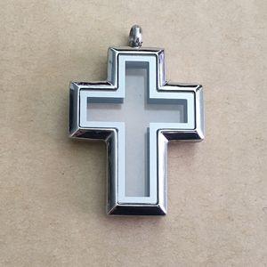 5Pcs forma di croce in acciaio inossidabile placcata argento di vetro di galleggiamento magnetica Charms Locket