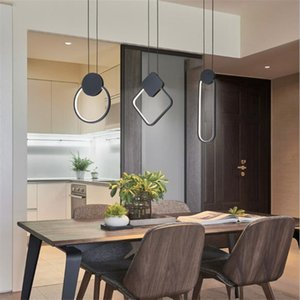colgante LED se ilumina moderna minimalista restaurante / cafetería / sala de estar / cama colgante de la lámpara de pared de fondo a largo colgar línea de la lámpara