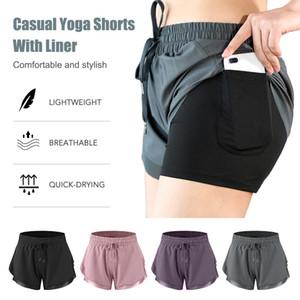 Летние шорты для бега Женщины 2 В 1 Marathon Quick Dry Шорты Gym Сыпучие Спортивные штаны дышащая Йога штаны с сумкой для телефона