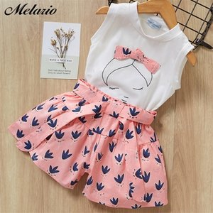 Melario Kids Girls Clothing Sets Summer Baby Girls Clothes T-Shirt and Jeans Shorts Suit 2Pcs Children Clothes Suits 0927