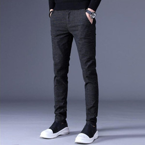 2020 New Mens Dress Pants Formal Pants Slim Fit Suit Business Formal Plaid Casual Wedding Pant Suits Men Trousers L63