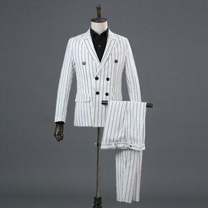 Freeship tam set siyah beyaz şerit erkek takım elbise / ortaçağ ceket / sahne performansı, ceket, yelek ve pantolon smokin
