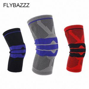 FLYBAZZZ Новые Лучшие Упругие Колено Опорный кронштейн Kneepad Регулируемый коленной Наколенники Баскетбол Безопасность Профессиональная защитная лента 6dCm #