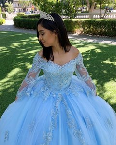 Sky Blue Lace Beaded Vintage Quinceanera Prom Dresses V-neck Long Sleeves Ball Gown Tulle Evening Party Sweet 16 Dress