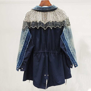 New Fashion 2020 Spring Contrast Color Pearl Rhinestone Drawstring Lapel Long Sleeve Loose Denim Coat Windbreaker Female W499