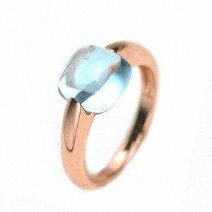 INature Natural Blu Topazio Anello Argento 925 anelli di fidanzamento per le donne Fine Jewelry regalo QqK2 #