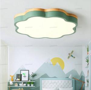 Nordic lámpara de techo de madera regulable LED techo luces redondas de diámetro 40-60 tamaño ultrafinos de 6 cm de alto 7 colores hierro arte macaron