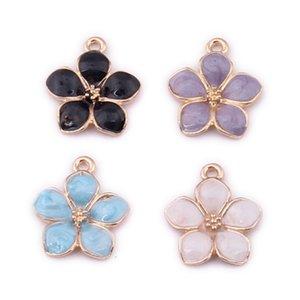 100pcs 17*16mm New Five-petal enamel Bauhinia flower charms Alloy pendants Small Hanging KC Golden Diy Ear jewelry Accessories