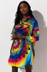 Shirts Sexy Loose Lapel Neck Eyes Digital Print Long Womens Shirts Cardigan Designer Ladies Long Sleeve