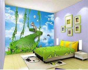 tamanho personalizado da foto 3D papel de parede murais kids room Dinosaur Balão grama Estrada Dolphin sofá imagem pano de fundo papel de parede adesivo não-tecido mural