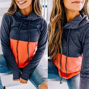 Sweatshirts Women Stacked Neck Hoodies Splice Solid Color Long Sleeve Autumn Hoodies Ladies Casual