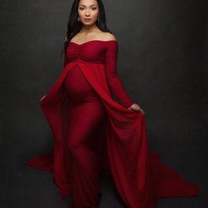 Material de manga comprida com ombro vestido de gravidez fotografia adereços maternidade maxi vestido vestidos para fotos grávida mulheres roupas y200805