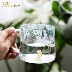 Creative Shiba Inu Glass Coffee Mug 320ml Cute Squirrel Tea Mug Elk Tea Cup Heat Resistant Glass Beer Mug Coffee Cup