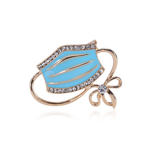 Mask Crystal Brooch Pins For Women Cute Enamel Pin Bijouterie High Quality Corsage Fashion Wedding Jewelry Accessories