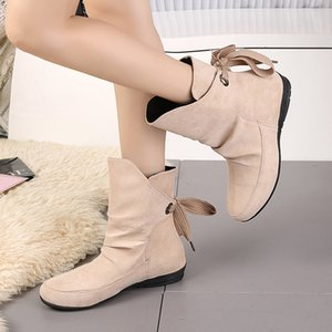 Large Size 36-43 New Low-heeled Female Back Lace Fashion Casual Suede Cute Wild Classic Women's Shoes Women's Short Boots B22-01