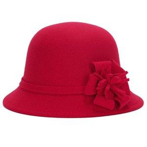미래 빈티지 여성 모조 모직 단색 꽃 장식 버켓 모자 중산 모자 2020 다시