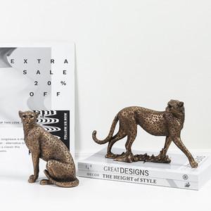 VILEAD Weinlese-Panther Statue Europäische Tierfigur Leopard Skulptur Home Office Dekoration Wohnzimmer-Dekor-Zubehör T200619