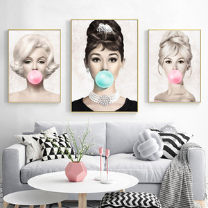 Wall Art Poster Audrey Hepburn Marilyn Monroe Blow Pink Bubbles Gum Prints Canvas Painting Women Art Wall Picture Foe Living Home Decor