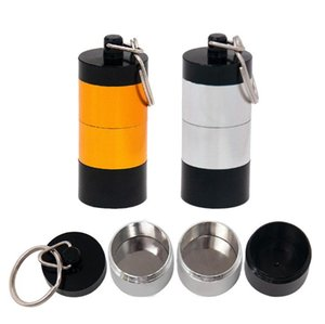 Portable Dab Wax Tobacco Container 4 Layers Pill Box Metal Pill Cases Jars Storage Holder for Dry Herb Herbal Vaporizer Keychain DHL SN4619