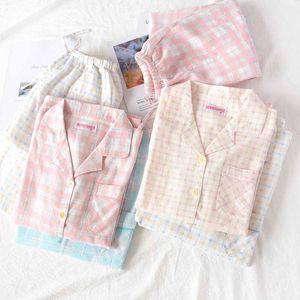 Severlerin Pajama Men and Women pijamalar Taze Stil Ekose Homewear Yaka Uzun Kollu Çift Rahat kıyafet pijama Turn-down