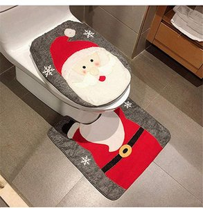 party & accessories Christmas Snowman Santa Deer Toilet Seat Cover and Rug Set Red Christmas Decorations Bathroom (Santa Claus)