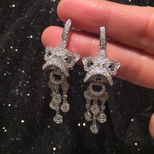 Frauen der chinesischen Art Kirin Gott Beast Kupfermünze S925 Silber Nadel Quaste nett und Ohrringe Tier Jahr Stil Ohrringe Ohrringe