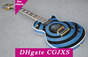 Özel Mağaza Zakk Wylde Bullseye Pelham Mavi Siyah Elektro Gitar Beyaz Blok İnci Kakma, Kopyala Emg Pasif Transfer, Altın Donanım