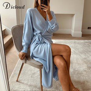 DICLOUD Long Women Knitted Wrap Dress Autumn Winter Oversize Elegant Day Dress Sexy V Neck Knitwear Robe 2020 Ladies Clothes T200819