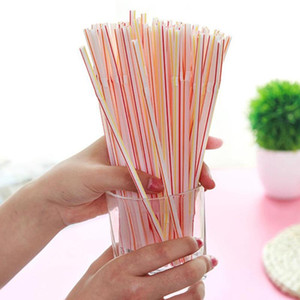Drinking Straws Colorful 100PCS Curved Plastic Straw Cocktail Wedding Birthday Party Summer Bar Drink Accessories Tools