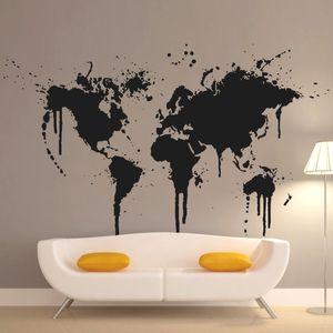 Искусство Нового дизайн украшения дома Spray Paint World Map Wall наклейка Творческого дом декор Виниловые дешевый съемный стикер T200827