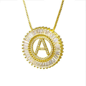 A-Z Initial Letters Pendant Necklace 26 Alphabet Micro Pave CZ Cubic Zircon Round Charm Hip Hop Necklaces for Men Women Family Jewelry Gift
