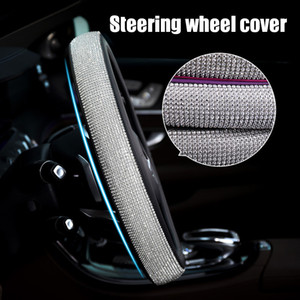 New Car Steering Wheel Sparkled Cover Rhinestones PU Leather Skidproof for Driving