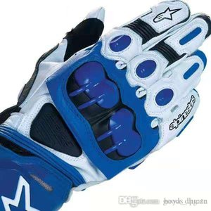 Blue PRO Cross-country Motorcycle Riding Gloves High Quality Leather Motorcycle Gloves Racing Car Handsome Outdoor Gloves