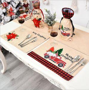 Chirstmas Set de table Table couverture voiture rouge Fleur Imprimé dîner Nappe Table Tapis chirstmas Décorations Plaid Cuisine Sets de OOA8342