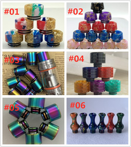 Newest 810 510 Drip Tips for TFV8 TFV12 Big Baby Starry Sky Resin SS Rainbow Snake skin Resin Long Gound