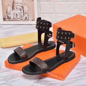 Louis Vuitton LV sandalias de verano al aire libre Pisos atractiva del tobillo de alta Gladiador Botas mujeres de las sandalias de las señoras de las sandalias romanas