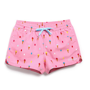 Lady Casual Shorts Women Beachwear Shorts Women Green flower print Spandex Stretch Fabric