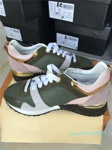 İndirim Lüks Tasarımcı Günlük Ayakkabılar Rockrunner Boş Ayakkabı Kadınlar Sneakers Mesh Deri Patchwork Flats Kızlar Ucuz En İyi Tenis C03