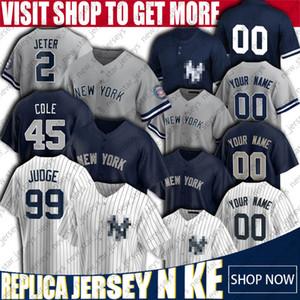 New Custom Iorque beisebol Yankees Jerseys 99 Aaron Juiz Jersey Derek Jeter Jerseys Gerrit Cole Gary Sanchez Jersey Gleyber Torres Jerseys