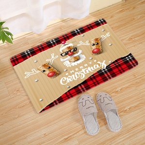 2020 new Christmas Door Anti-slip Mat Flannel Santa Claus Rug Carpet bath mat Christmas Decorations For Home Xmas Party Supply