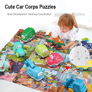 Cartoon Car Puzzle Toy Children Shapes Learning Traffic Puzzles Jigsaw Kids Early Educational Intelligence Toys For Baby Inertial Car Gift