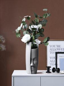 Cara nórdica Vase Cerámica Centro de flores florero de la vendimia de flores artificiales jarrones de cerámica de arte grande de la cara