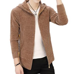 Autumn kazak Jacket Katı Uzun Kollu paltoları Erkekler Bahar Kapşonlu Örme Triko Erkekler Hırka Yeni Stil Erkek