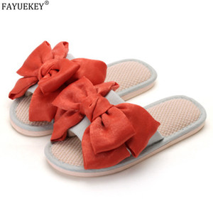 FAYUEKEY Women Slippers Butterfly-knot Summer Home Slippers Comfortable Soft Linen Flip Flops Female Casual Slides Indoor Shoes