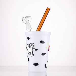 """tazza del latte tubo di vetro di figura becher bong pipe riciclare tamponare filtro 9"""" bong acqua vetro tubi di acqua olio rig rig doppio strato"""