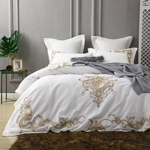 Golden embroidery egyptian cotton white luxury Bedding Set king queen bed cover set Bedsheets Duvet quilt Cover pillowcase