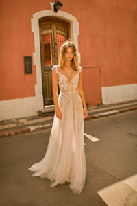 Berta 2021 Wedding Dresses Lace Appliqued Backless Country Beach Boho Wedding Dress Bridal Gowns abiti da sposa
