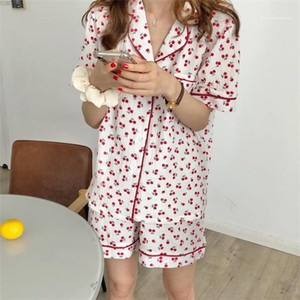Women Cute Fashion Underwears Womens Cherry 2pcs Summer Sleepwears Woman Lapel Neck Pocket Tshirts With Short Suits